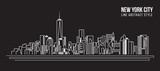 Fototapety Cityscape Building Line art Vector Illustration design - new york city