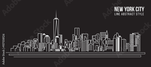 Cityscape Building Line art Vector Illustration design - new york city - 107038126