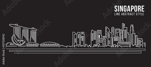 Cityscape Building Line art Vector Illustration design - Singapore - 107038142