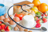 Fototapety Allergy food and stethoscope abstract concept