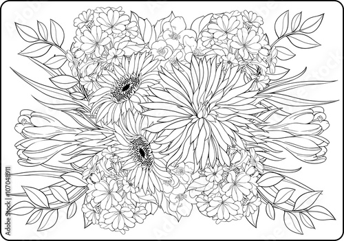 coloring page close-up bunch of flowers