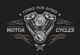 Motorcycle engine in vintage style.  - 107053368