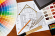 architectural drawing, Two color palette guide, pencils and rule