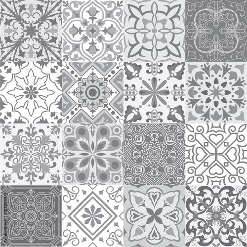 Set of tiles background in grey. - 107055551