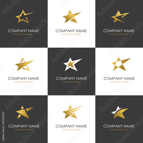 Golden star logo set isolated on white and black backgrounds - 107056313