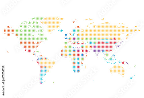 Dotted World map of square dots Poster