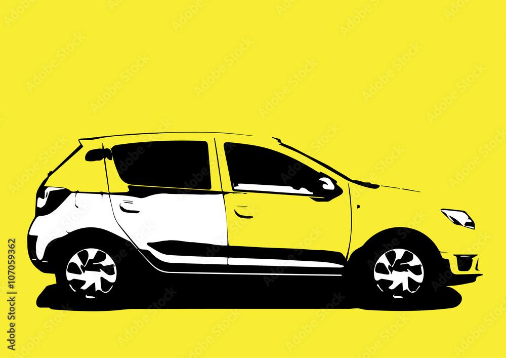 Printed Kitchen Splashbacks Pop Art Car Colorful Vehicle