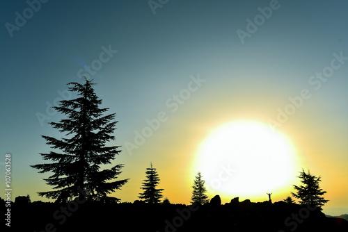 Fotobehang Wielersport harika gündoğumu manzarası