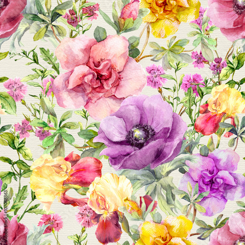 Cotton fabric Flowers in meadow. Seamless floral pattern. Watercolor