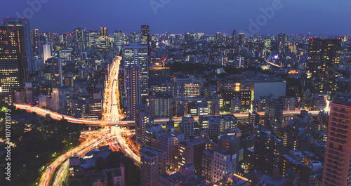 Fotobehang Tokio Aerial view of a massive city intersection