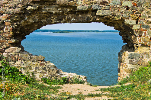 Naklejka Ruins of old turkish fortress Ram by the river Danube in Serbia