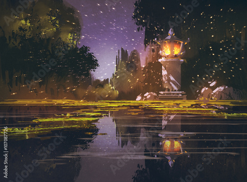 night landscape with stone lantern,illustration painting