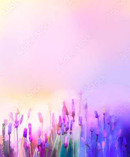 Fototapeta  Oil painting violet lavender flowers in the meadows. Abstract oil painting sunshine at flower field in soft purple color and blur style