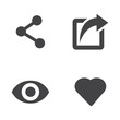 Vector like share view icon set. Like Share View Icon Object, Like Share View Icon Picture, Like Share View Icon Image - stock vector