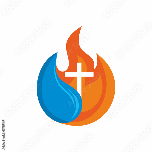 ... symbols. Cross. The fire of the Holy Spirit and the living water flows