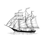 Schooner, sailing ship sliding on the waves - 107122908