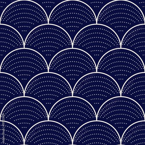 Fototapeta Japanese wave seamless pattern, vector illustration