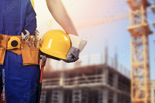 construction worker at building site with copy space