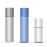 Fototapety White and silver Bottles of aerosol spray, metal bottle for cosmetic, perfume or hairspray. Deodorant packing