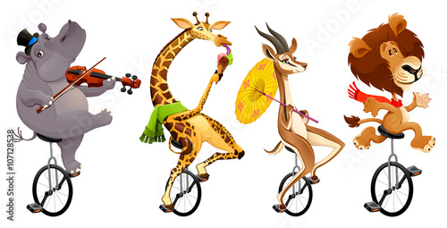 Foto op Canvas Kinderkamer Funny wild animals on unicycles
