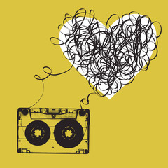 Audiocassette with tangled tape. Haert shaped