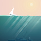 Yacht on ocean surface sailing in summer sunset. Low poly vector background for vacation promotion. - 107133942