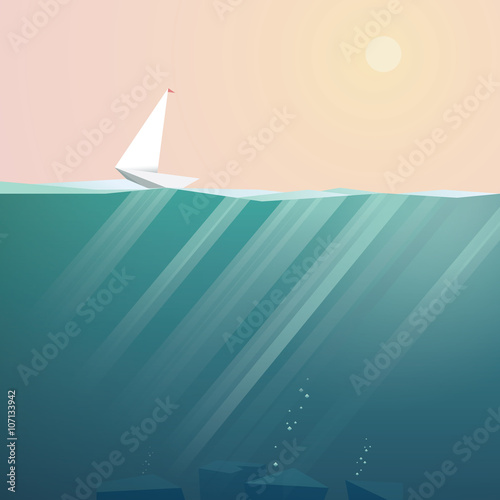Yacht on ocean surface sailing in summer sunset. Low poly vector background for vacation promotion.