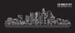 Cityscape Building Line art Vector Illustration design - Los Angeles City