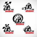 Fototapety Black and red The bigbike logo vector design