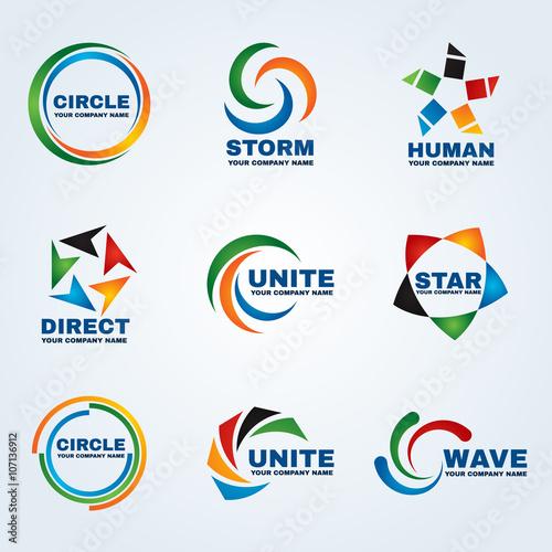 Circle logo storm logo human logo Direct logo Unite logo Star logo and Wave logo vector art design for business