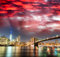 Amazing panoramic view of Lower Manhattan at sunset from Brookly