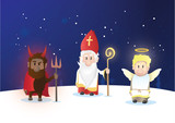 Tiny Saint Nicholas, Nicolaus, Nikolaus with shining staff. Nicolaus, angel and devil characters.