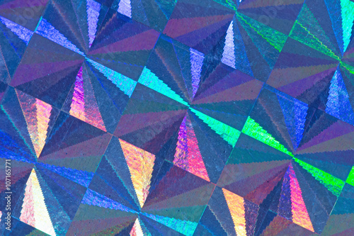 Poster Blue psychedelic abstract formed by light reflecting off a textured metal surfac