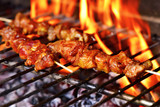 meat skewers in a barbecue