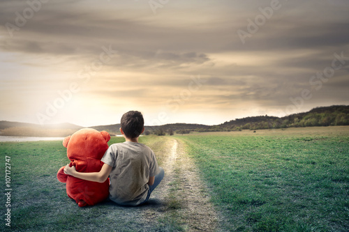 Staande foto Fantasie Landschap Young boy and his friend