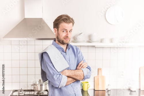 Poster Forty years old caucasian man or chef in the kitchen