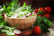 Постер, плакат: Vegetarian salad with radishes cucumber tomato wild garlic g