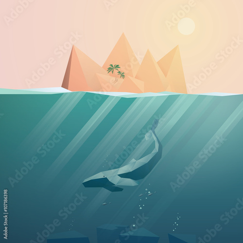 Fototapeta Summer background with underwater seascape scene and sunbeams in the ocean.