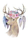 Deer hand painted watercolor illustration isolated on white bac