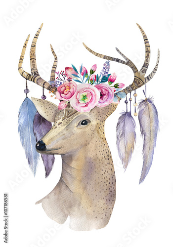 Deer hand painted watercolor illustration isolated on white bac - 107186581