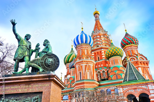 St. Basils cathedral and monument on Red Square in Moscow, Russia Poster