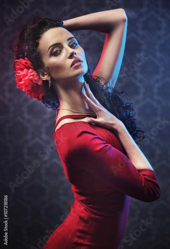 Portrait of a pretty flamenco dancer - 107218186
