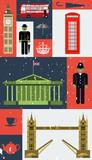 Grunge vector London city street icon set. A set of London symbols and landmarks. Vector Illustration. EPS 10.