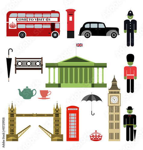 Tuinposter Op straat Vector London City street icon set. A set of London symbols and landmarks. Vector Illustration. EPS 10.