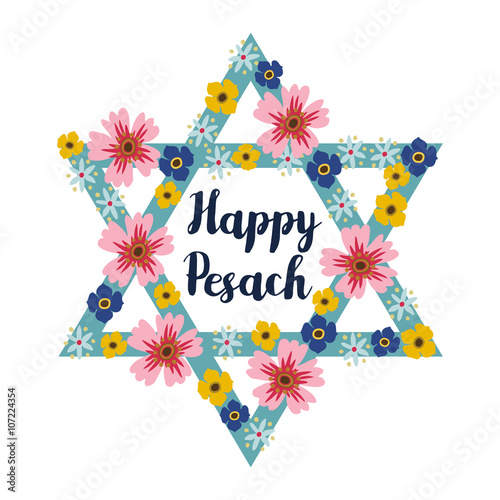 Pesach passover greeting card with jewish star and flowers vector pesach passover greeting card with jewish star and flowers vector illustration background m4hsunfo