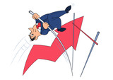 Businessman doing the pole vault 3