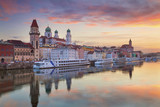 Passau. Passau skyline during sunset, Bavaria, Germany. - 107226186