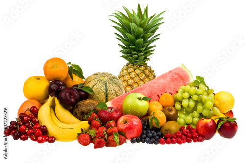 Foto Murales mixed tasty fruit composition set isolated on white