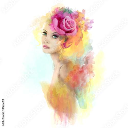 Fototapeta Summer woman abstract portrait