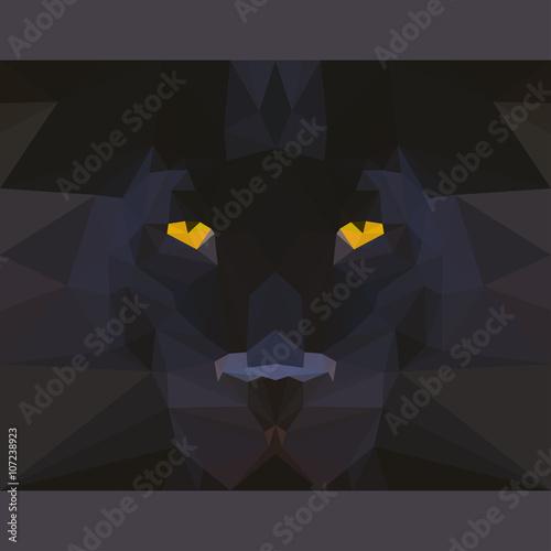 Fototapeta Wild black panther stares forward. Abstract geometric polygonal card template